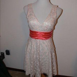 Cocktail Coral Lace Dress